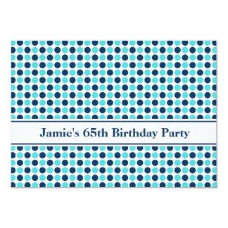 Blue Dots 65th Birthday Party Invitation