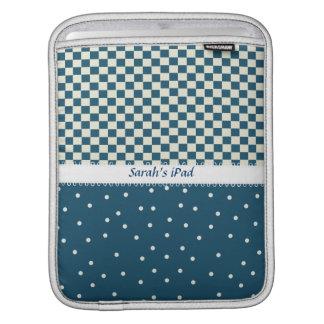 Blue Dots and Checks iPad Sleeve