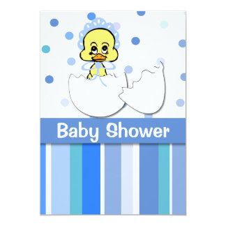 Blue Dots and Stripes Baby Duck Baby Shower Custom Announcements