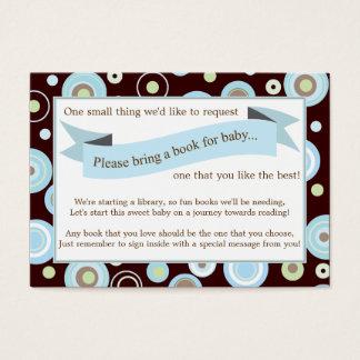 Blue Dots Baby Shower Book Insert Request Card