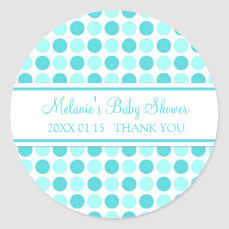 Blue Dots Baby Shower Favor Stickers