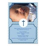 Blue Dots Baptism Baby Dedication 5x7 photo Announcement
