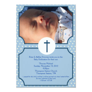 Blue Dots Baptism Baby Dedication 5x7 photo 5x7 Paper Invitation Card