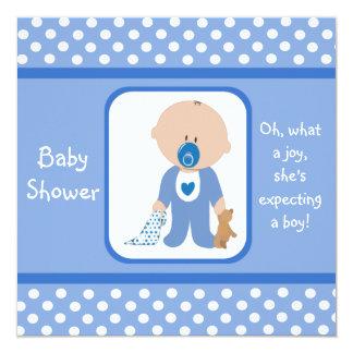Blue Dots Caucasian Baby Shower Invitations