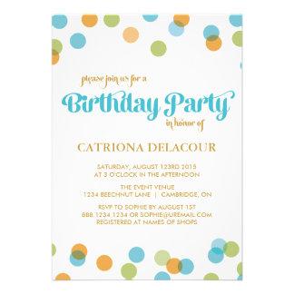 BLUE DOTS CONFETTI | KIDS BIRTHDAY INVITATION