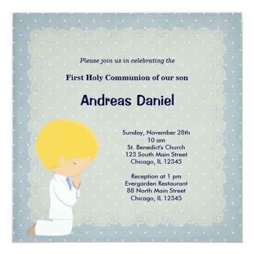 Blue dots holly communion boy 5.25x5.25 square paper invitation card