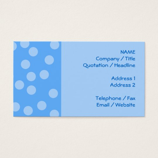 Blue Dots Pattern. Business Card