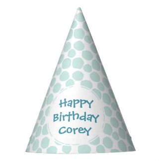 Blue Dots Pattern Custom Birthday Party Party Hat