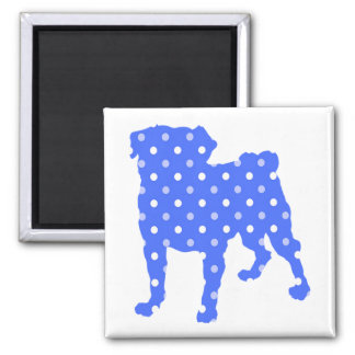 Blue Dots Pug Magnet - Add Your Own Text