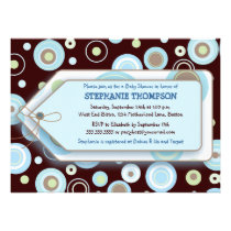 Blue Dots Tag Boy Baby Shower Invitation
