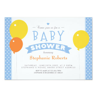 """Blue Dotted Baby Shower Photo Invite with Balloons 5"""" X 7"""" Invitation Card"""