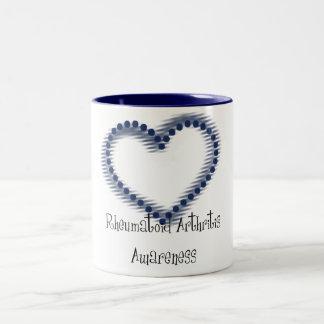 Blue Dotted Heart Rheumatoid Arthritis Awareness Two-Tone Coffee Mug