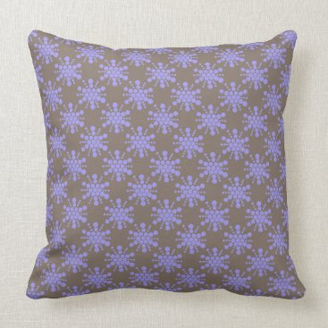 Beach Themed Blue dotted stars on chocolate brown throw pillow
