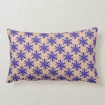 Beach Themed Blue dotted stars on taupe lumbar pillow