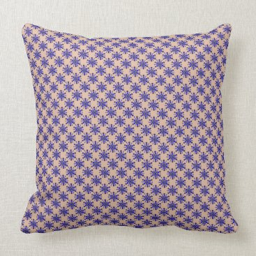 Beach Themed Blue dotted stars on taupe throw pillow