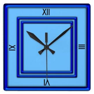 Blue Double Frame 4 Black Numerals Clock
