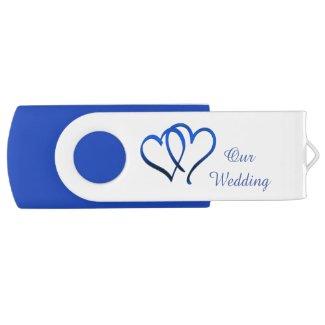 Blue Double Heart Wedding USB Drive