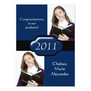 Double graduation invitations announcements zazzle blue double photo graduation party invitation filmwisefo