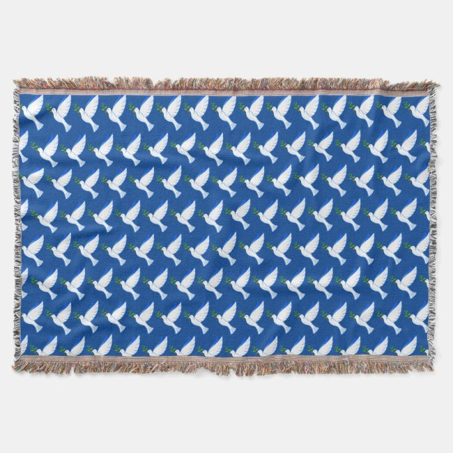 Blue Dove of Peace Pattern Throw Blanket