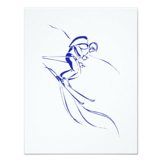 "Blue Downhill 4.25"" X 5.5"" Invitation Card"