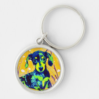 blue doxie Silver-Colored round keychain