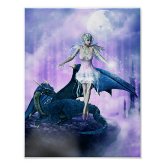 Blue dragon and fairy poster