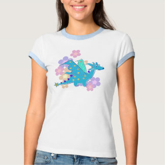 Blue Dragon and Flowers T Shirt