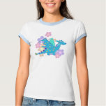 Blue Dragon and Flowers Tee Shirt