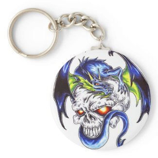 Blue Dragon and skull tattoo style keychain