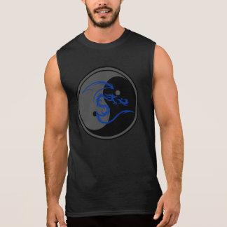 Blue Dragon and Yin Yang Design 2 Sleeveless Tees