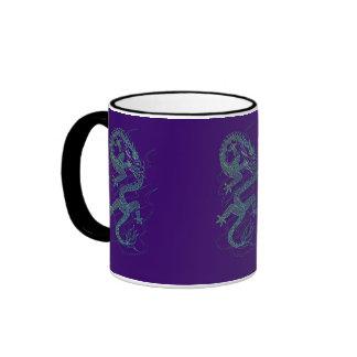 Blue Dragon Asian Art Design Ringer Mug