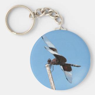 Blue dragon basic round button keychain