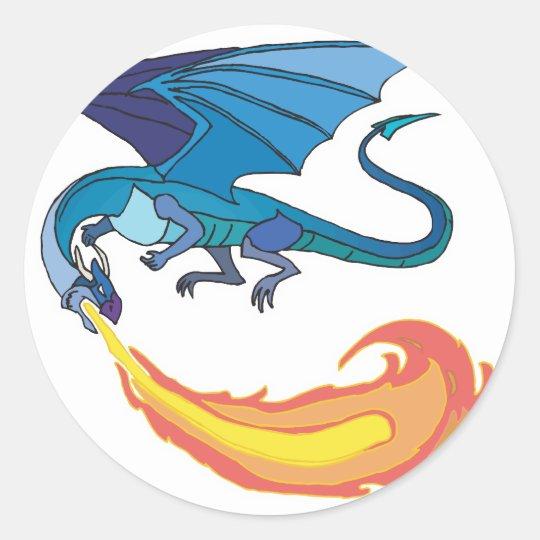 blue dragon breathing fire classic round sticker