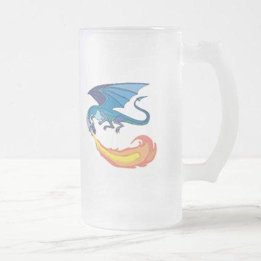 blue dragon breathing fire coffee mug