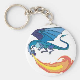 blue dragon breathing fire keychain