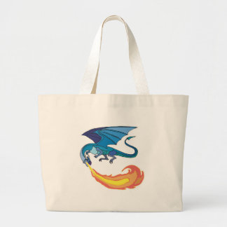 blue dragon breathing fire large tote bag
