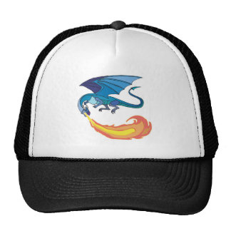 blue dragon breathing fire mesh hat