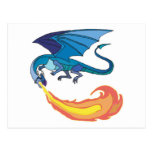 blue dragon breathing fire post cards