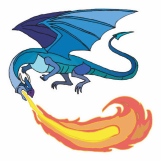 blue dragon breathing fire statuette