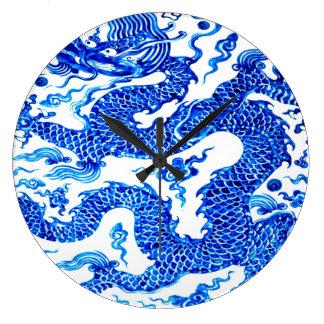 Blue Dragon Chinese Vase Modern Acryllic Designer Large Clock