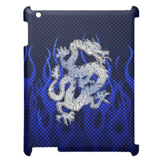 Blue Dragon Chrome like Carbon Fiber flames Cover For The iPad 2 3 4