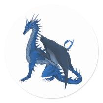 Blue Dragon Classic Round Sticker