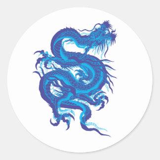 blue.dragon classic round sticker