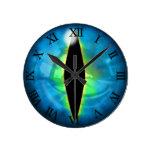 Blue Dragon Eye Round Clock