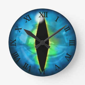 Blue Dragon Eye Round Clock