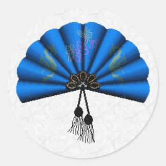 Blue Dragon Fan Pixel Art Classic Round Sticker