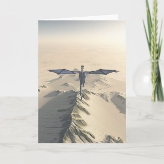 Blue Dragon Flying over Winter Mountains Card