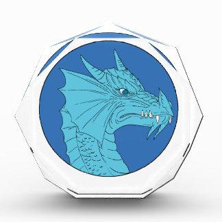 Blue Dragon Head Angry Circle Drawing Award