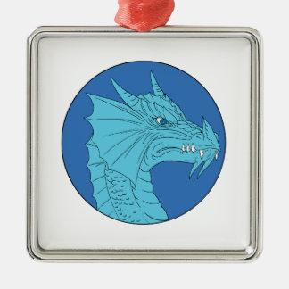 Blue Dragon Head Angry Circle Drawing Metal Ornament