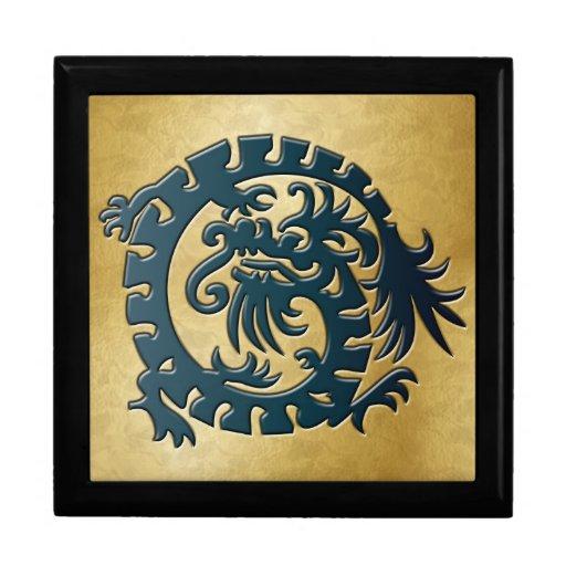 Blue Dragon Icon on Gold - 1 Keepsake Box